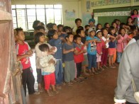 Children Singing during Disaster Relief Mission